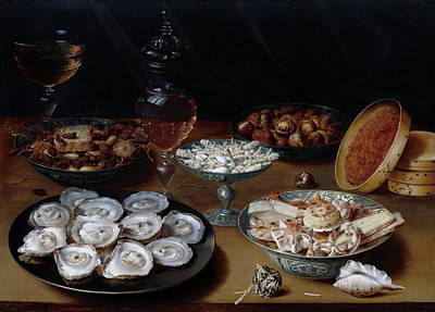 Painting -  Dishes With Oysters, Fruit, And Wine by Osias Beert the Elder