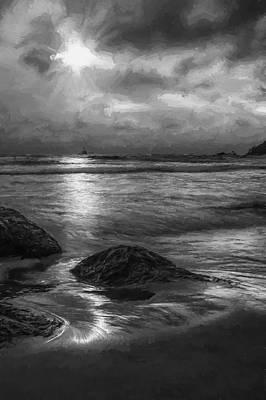 Evening Digital Art - Distant Lighthouse  II by Jon Glaser