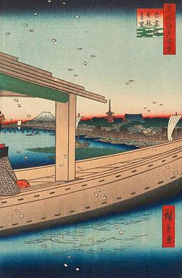 Reproduction Painting - Distant View Of Kinryuzan Temple And Azuma Bridge by Utagawa Hiroshige