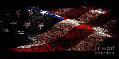 Bennington Photograph - Distressed Old Glory On Black by Jon Neidert