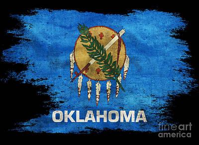 Oklahoma Photograph - Distressed South Dakota Flag On Black by Jon Neidert