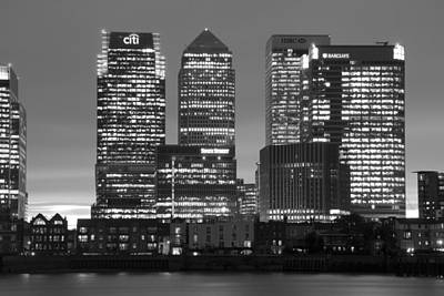 Docklands Canary Wharf Sunset Bw Print by David French