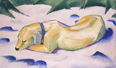 Franz Marc Painting - Dog Lying In The Snow by Franz Marc