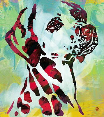 Dog Pop Art Drawing - Dog Pop Modern Etching Art Poster by Kim Wang