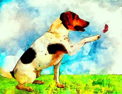 Dog Digital Art - Dogs by Elena Kosvincheva
