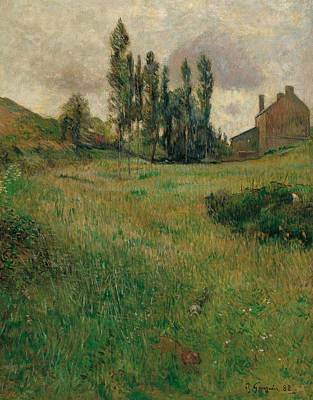Painting - Dogs Running In A Meadow by Paul Gauguin