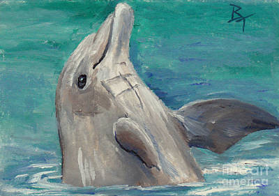 Painting - Dolphin Aceo by Brenda Thour