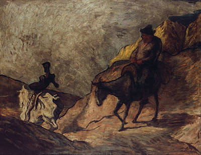 Don Quixote And Sancho Panza Art Print by Honore Daumier