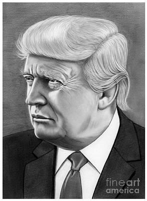 Donald Trump Wall Art - Drawing - President Donald Trump by Murphy Elliott