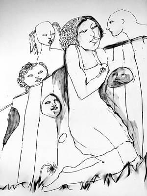 Wall Art - Drawing - Donde Estan Los Ninos? 2 by Rosalinde Reece