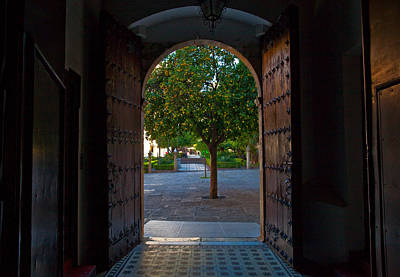Doorway And Arch Between Gardens Art Print by Panoramic Images