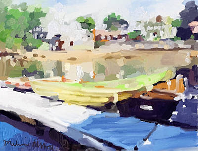 Yellow Painting - Dories At Beacon Marine Basin by Melissa Abbott