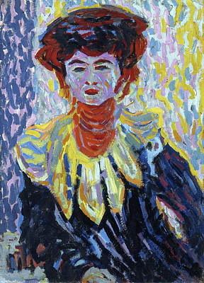 Stand Painting - Doris With Ruff Collar by Ernst Ludwig Kirchner