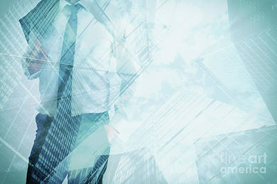 Offices Photograph - Double Exposure Of Businessman And Modern Skyscrapers. Business Leader, Career Concepts by Michal Bednarek