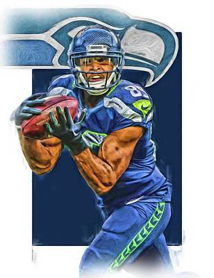 Mixed Media - Doug Baldwin Seattle Seahawks Oil Art by Joe Hamilton