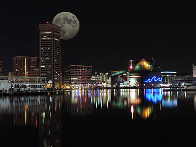 City Photograph - Downtown Baltimore Maryland Night Skyline Moon by Cityscape Photography