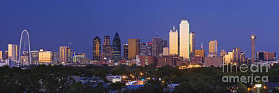 Sundown Photograph - Downtown Dallas Skyline At Dusk by Jeremy Woodhouse