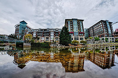 Downtown Of Greenville South Carolina Around Falls Park Art Print by Alex Grichenko