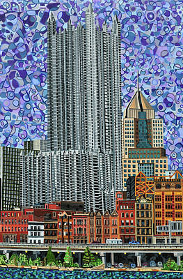 Painting - Downtown Pittsburgh - View From Smithfield Street Bridge by Micah Mullen
