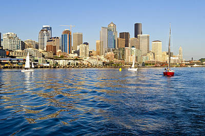 Downtown Seattle Sailing Art Print by Tom Dowd