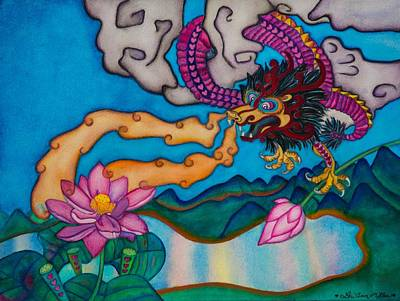 Painting - Dragon Heart And Lotus Flower by Lori Miller