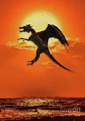 Pegasus Digital Art - Dragon In Flight by Mary Bassett
