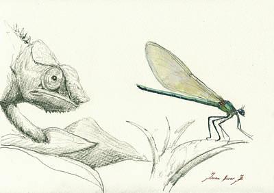Chameleon Painting - Dragonfly With Chameleon by Juan Bosco