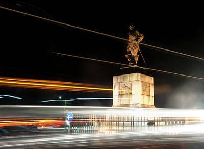 Drake's Statue Traffic Trails Iv Art Print