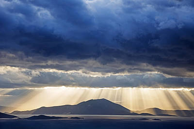 Pelion Photograph - Dramatic Sky Above Mediterranean Seascape by Claudia Holzfoerster