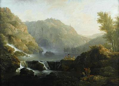 Foot Hills Painting -  Draughtsmen In Front Of A Waterfall by Joseph Vernet