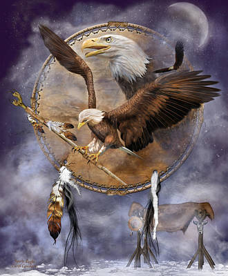 Eagle Mixed Media - Dream Catcher - Spirit Eagle 2 by Carol Cavalaris