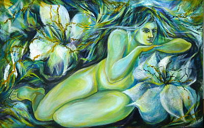 Art Print featuring the painting Dreaming Flower by Anna  Duyunova