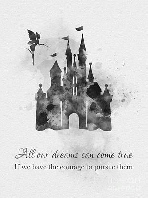 Castle Mixed Media - Dreams Can Come True Black And White by Rebecca Jenkins