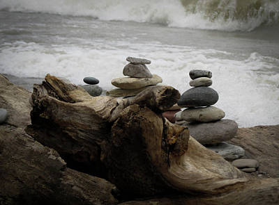 Photograph - Driftwood Cairns by Kimberly Mackowski
