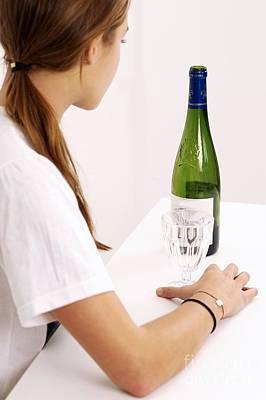Contemplative Photograph - Drinking Wine by Lea Paterson