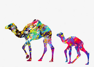 Dromedary Digital Art - Dromedary Camels-colorful by Erzebet S