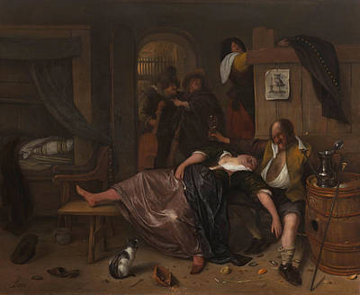 Cello Painting - Drunk Couple by Jan Steen