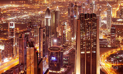 Photograph - Dubai City At Night by Anna Om