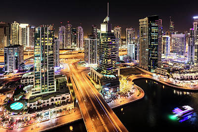 Photograph - Dubai Marina At Night by Alexey Stiop