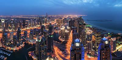 Dubai - Marina Skyline Panorama Art Print by Jean Claude Castor