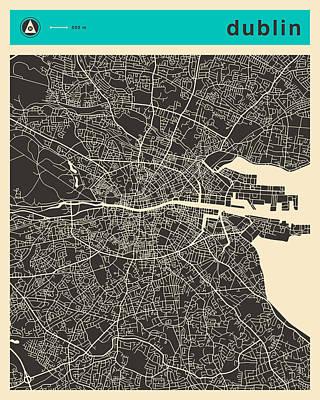 Dublin Digital Art - Dublin Map 1 by Jazzberry Blue