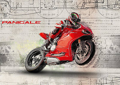 Motorcycle Digital Art - Ducati Panigale by Yurdaer Bes