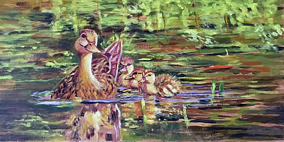 Painting - Duck Family by Lynne Atwood