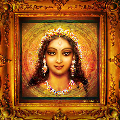 Goddess Durga Mixed Media - Durga In The Sri Yantra  by Ananda Vdovic