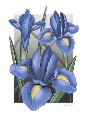 Blooming Digital Art - Dutch Iris by David Azzarello