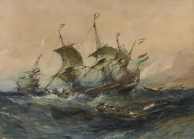 Drawing - Dutch Ships In A Storm by Eugene Isabey