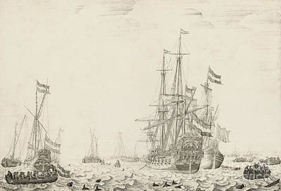 Dolphins Drawing - Dutch Ships Near The Coast by Willem van de Velde the Elder