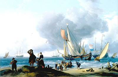 Yacht Mixed Media - Dutchman Embarking Onto A Yacht by Ludolf Bakhuizen