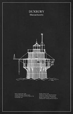 Duxbury Lighthouse - Massachusetts - Blueprint Drawing Art Print