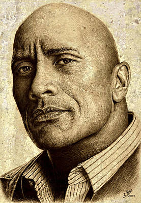 Athletes Drawings - Dwayne The Rock Johnson by Andrew Read